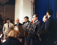 press conference regarding nationwide report of drug trafficking, 1989