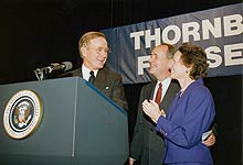 dick and ginny thornburgh with president bush at campaign fundraiser