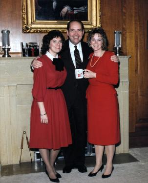 valentine's day with ag staff friends linda starnes and mary lou brauer, 1991