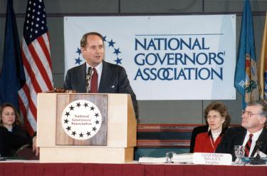 AG Thornburgh speaking at national governors association meeting, 1989