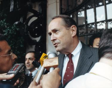 Thornburgh speaking to press following meeting with president gaviria of columbia, 1990