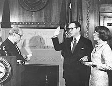 SWEARING-IN CEREMONY: ATTORNEY GENERAL LEVY, DICK THORNBURGH, GINNY THORNBURGH, JULY 9, 1975