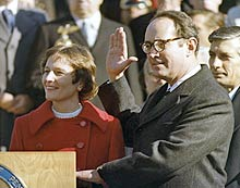 governor thornburgh and wife ginny during insugural ceremony, january 16, 1979