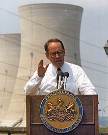 governor thornburgh presenting clean-up plan by three mile island towers, 1982